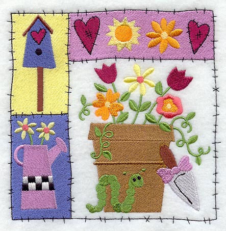 patchwork hearts and flowers