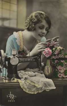 Victorian Woman Sewing