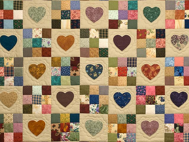 Amish Quilt With Hearts