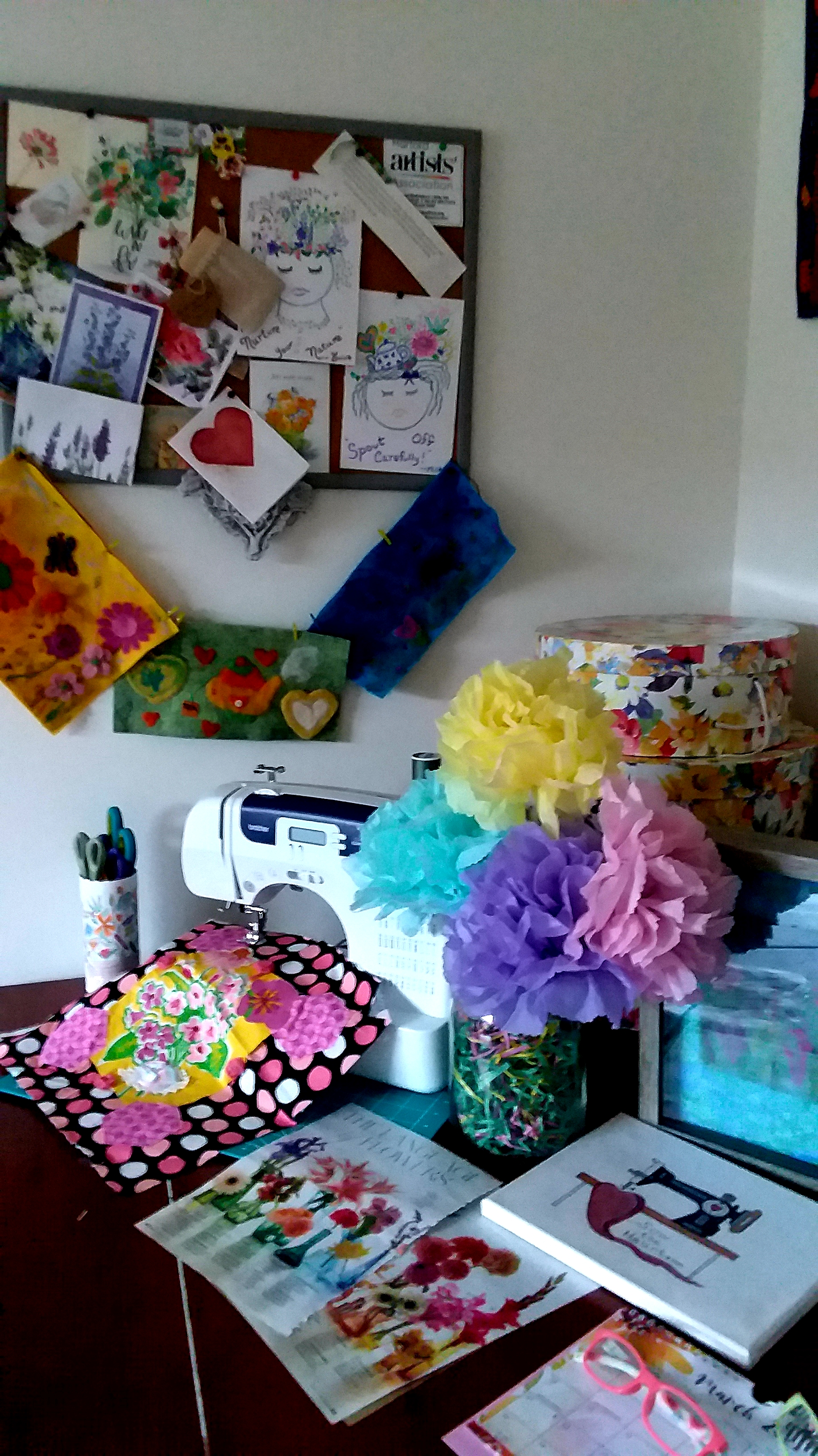 First Day Of Spring Flowers In My Sewing Space